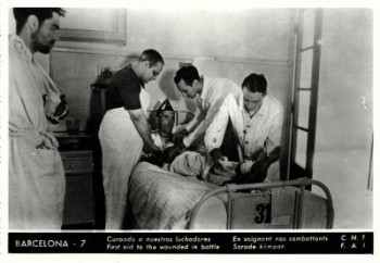 Carte postale, 1936, Éditions CNT FAI, photo hôpital milicien blessé à Barcelone