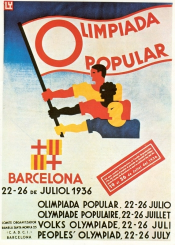 Affiche, 1936, Ly, Comité d'organisation, Olimpiada Popular Barcelone juillet 1936