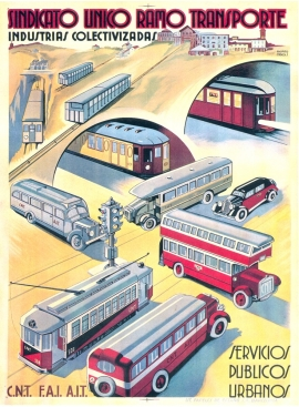 Affiche, 1936, Obiols, Syndicat unique des transports, Industrie collectivisée