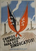 Affiche, 1937, Gallo, Comité national CNT, Champs et usines aux syndicats