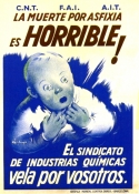 Affiche, 1937, Fabregas, Syndicat industrie chimique CNT, La mort par asphixie est horrible.