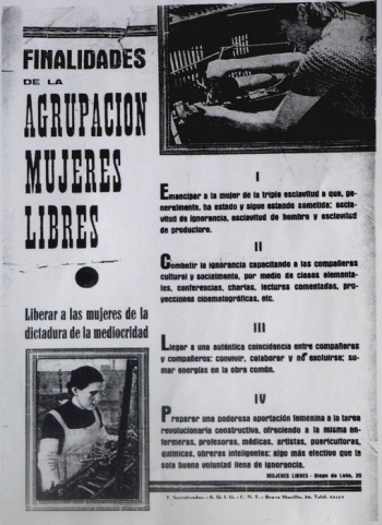 Affiche texte, 1937, Mujeres Libres, Les objectifs du groupe Mujeres Libres