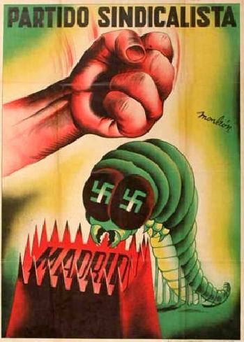 affiche, 1936, Monleon, Parti Syndicaliste, Madrid écraser le fascisme