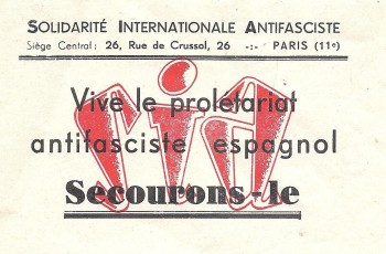 Vignette, 1937, France, SIA, secourons les antifascistes espagnols