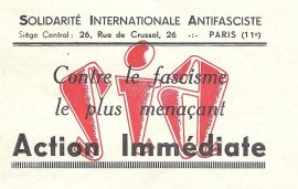 Vignette, 1937, France, SIA, action immédiate contre le fascisme