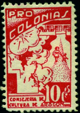 Timbre, 1936, Colonies enfants Aragon bombardements