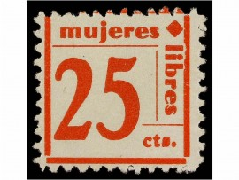 Timbre, Mujeres Libres, cotisation 25cts