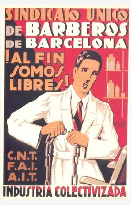 Affiche, 1936, Obiols, Collectisation Barcelone, Barbiers libres