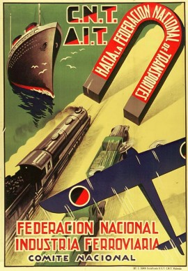 Affiche, 1937, CNT AIT, Fédération nationale des transports : nos actions
